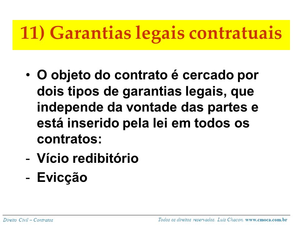 11) Garantias legais contratuais