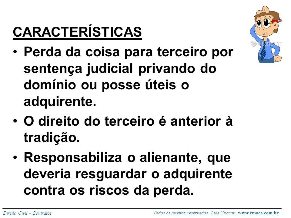 CARACTERÍSTICAS Perda da coisa para terceiro por sentença judicial privando do domínio ou posse úteis o adquirente.