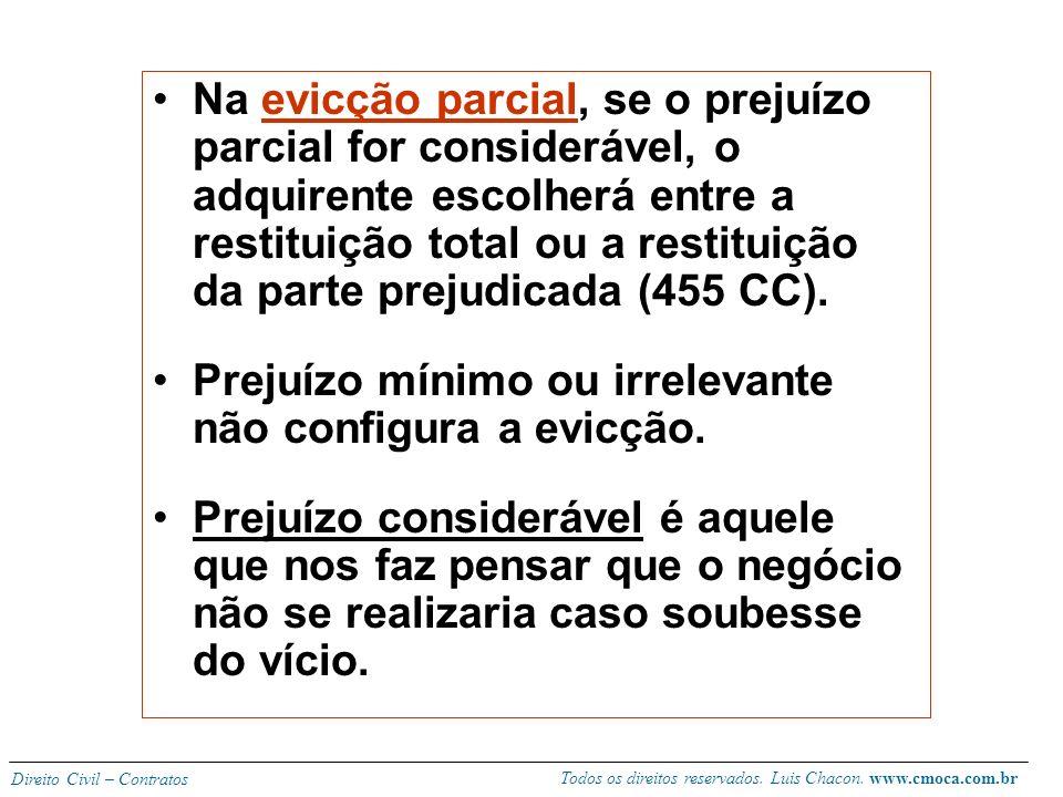 Na evicção parcial, se o prejuízo parcial for considerável, o adquirente escolherá entre a restituição total ou a restituição da parte prejudicada (455 CC).