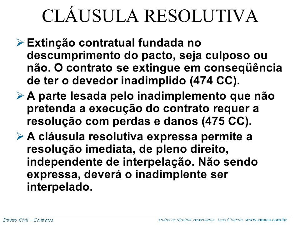 CLÁUSULA RESOLUTIVA