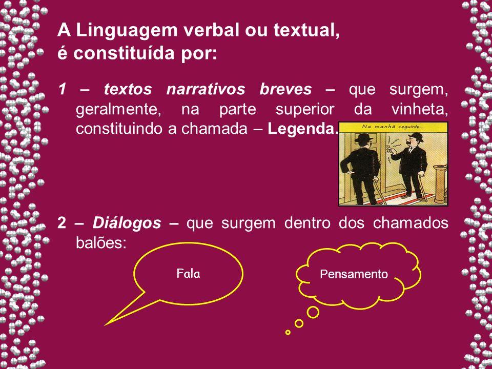 A Linguagem verbal ou textual, é constituída por: