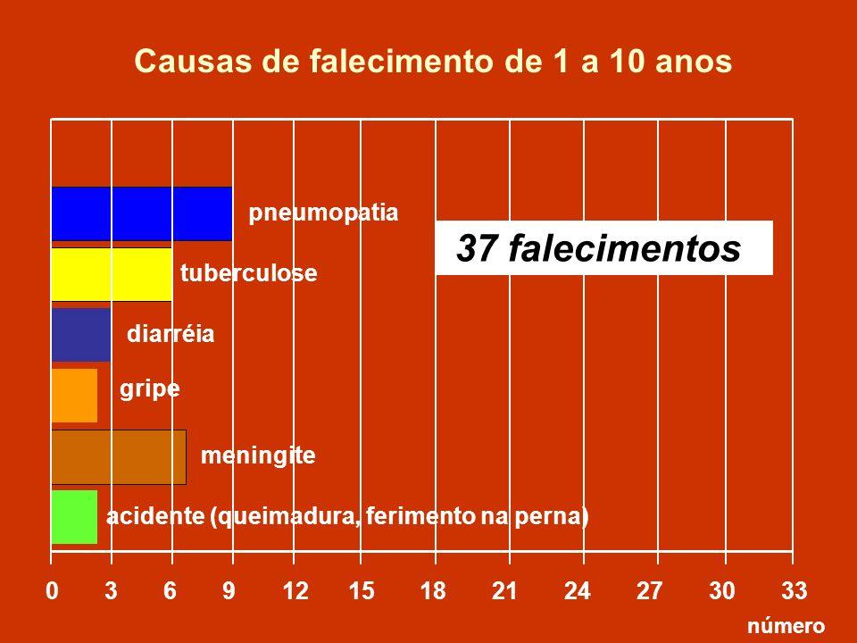 Causas de falecimento de 1 a 10 anos