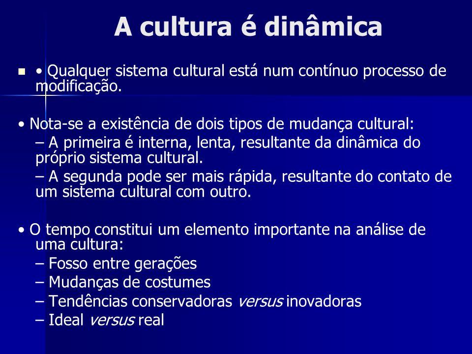 A cultura é dinâmica • Qualquer sistema cultural está num contínuo processo de modificação.