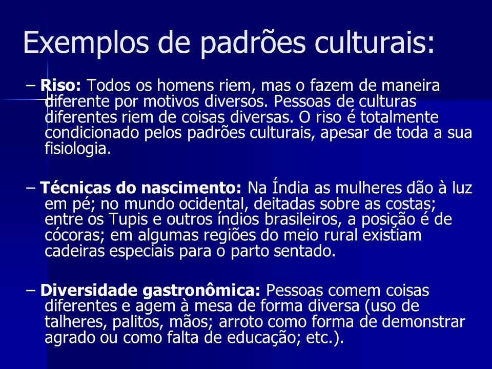 Exemplos de padrões culturais:
