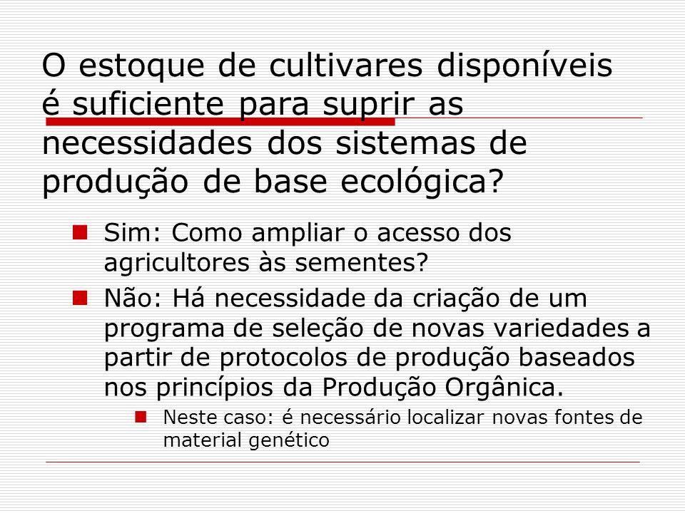 O estoque de cultivares disponíveis é suficiente para suprir as necessidades dos sistemas de produção de base ecológica