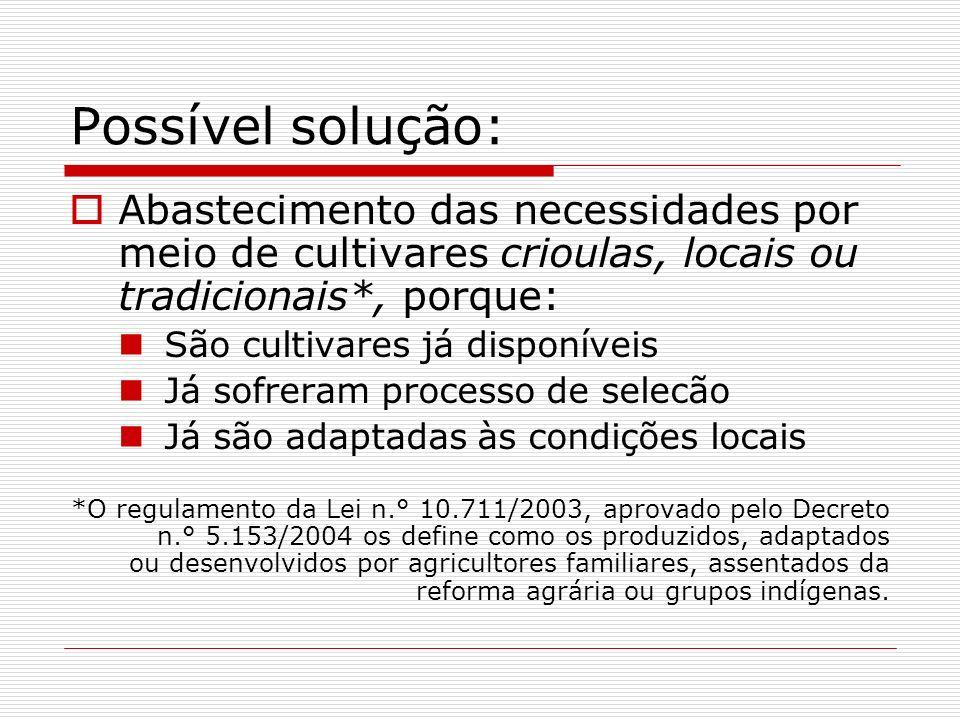Possível solução: Abastecimento das necessidades por meio de cultivares crioulas, locais ou tradicionais*, porque: