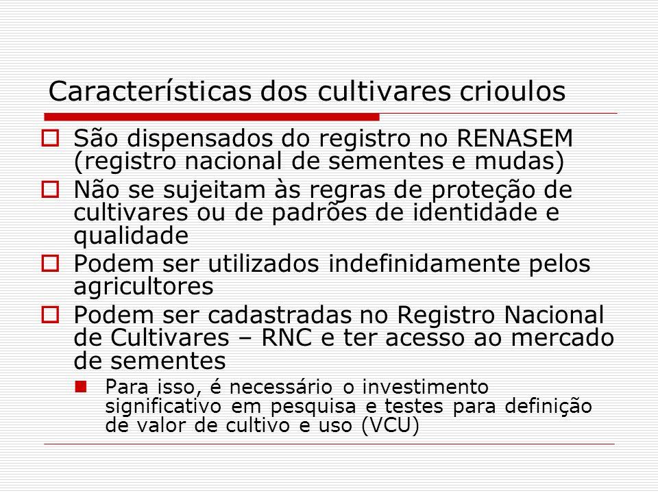 Características dos cultivares crioulos