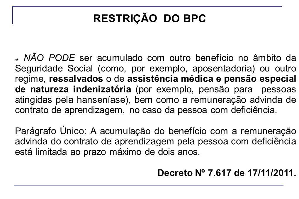 RESTRIÇÃO DO BPC