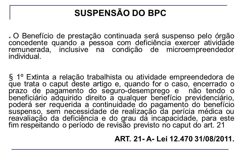 SUSPENSÃO DO BPC