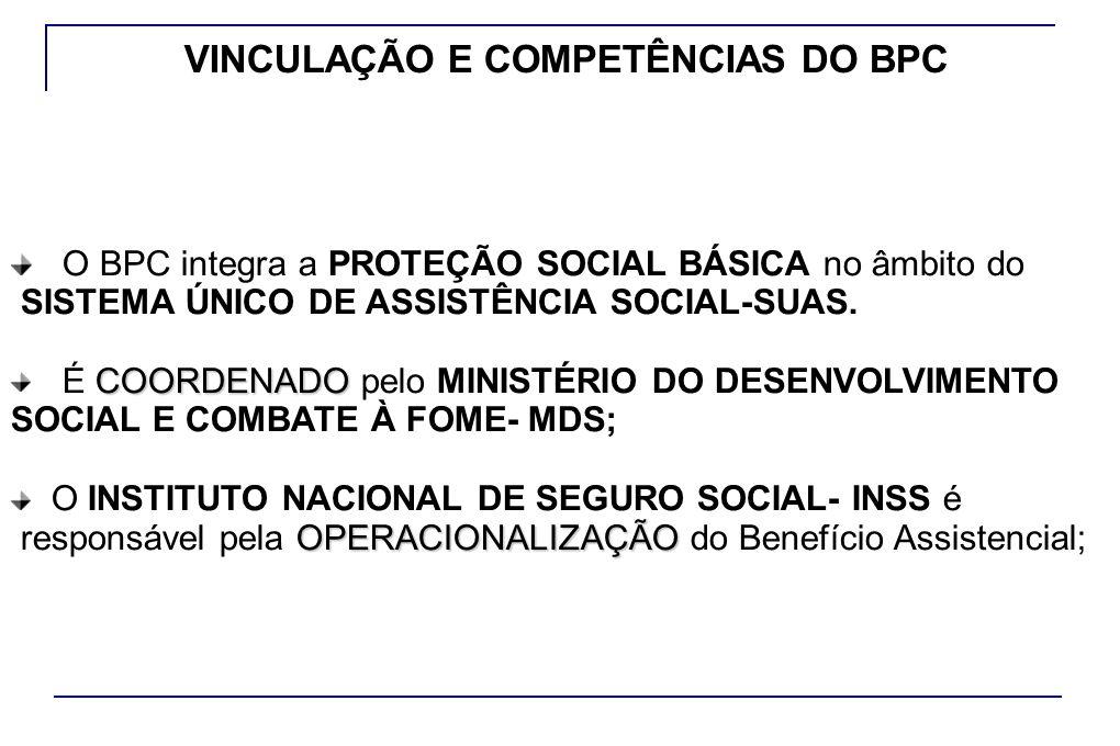 VINCULAÇÃO E COMPETÊNCIAS DO BPC