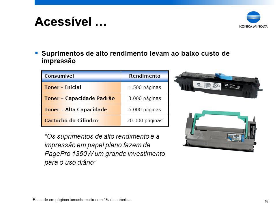 Acessível …Suprimentos de alto rendimento levam ao baixo custo de impressão. Consumível. Rendimento.