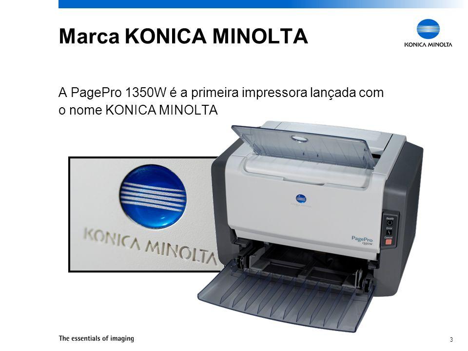 Marca KONICA MINOLTA A PagePro 1350W é a primeira impressora lançada com o nome KONICA MINOLTA