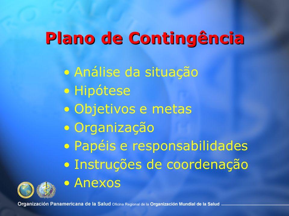 Plano de Contingência Análise da situação Hipótese Objetivos e metas