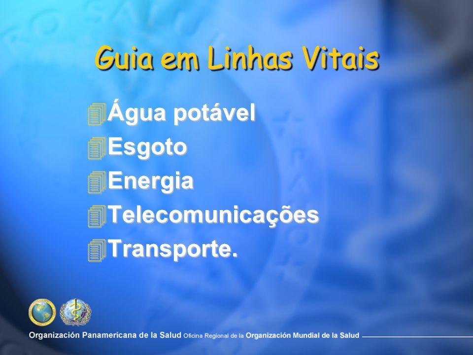 Guia em Linhas Vitais Água potável Esgoto Energia Telecomunicações