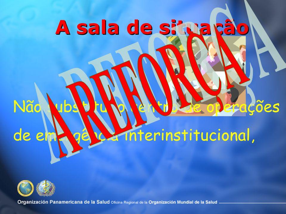 A sala de situação A REFORÇA Não substitui o centro de operações de emergência interinstitucional,