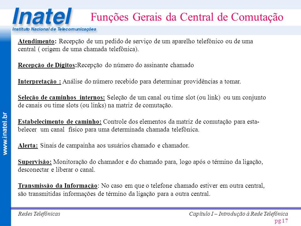 Funções Gerais da Central de Comutação