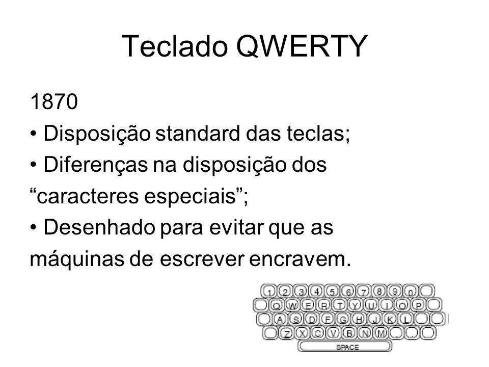 Teclado QWERTY 1870 • Disposição standard das teclas;