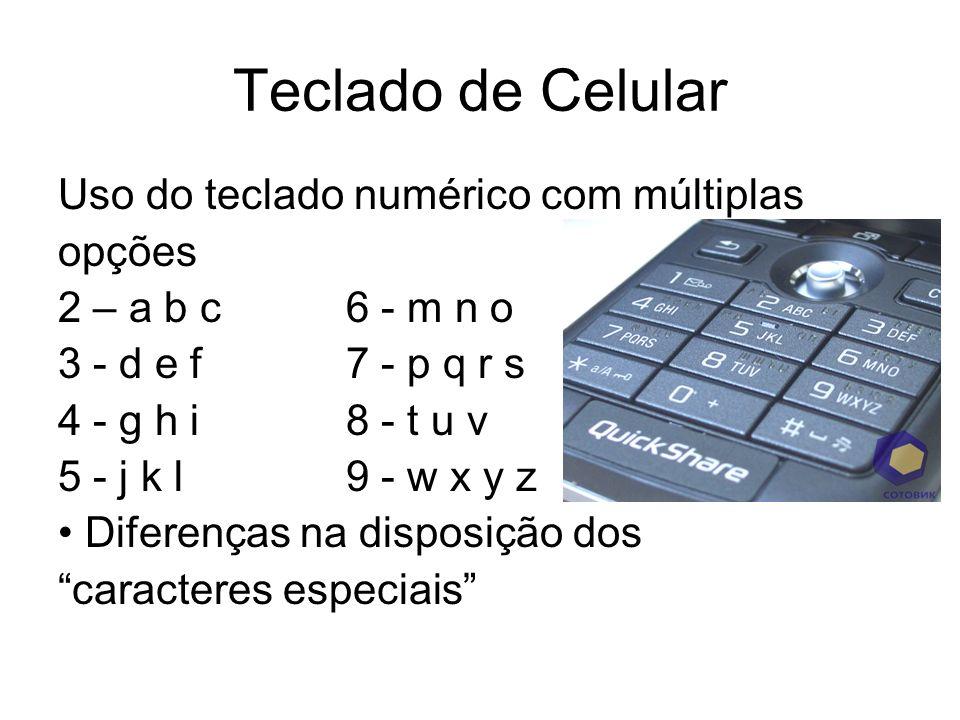 Teclado de Celular Uso do teclado numérico com múltiplas opções