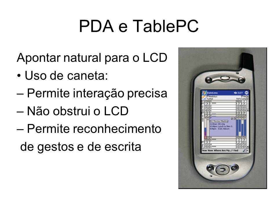 PDA e TablePC Apontar natural para o LCD • Uso de caneta: