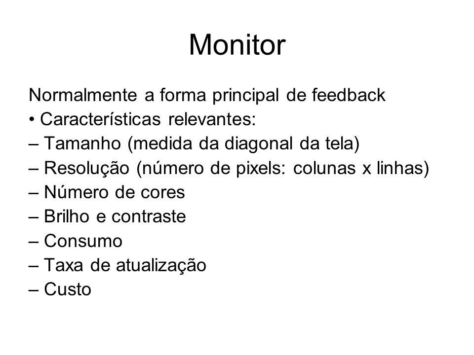 Monitor Normalmente a forma principal de feedback