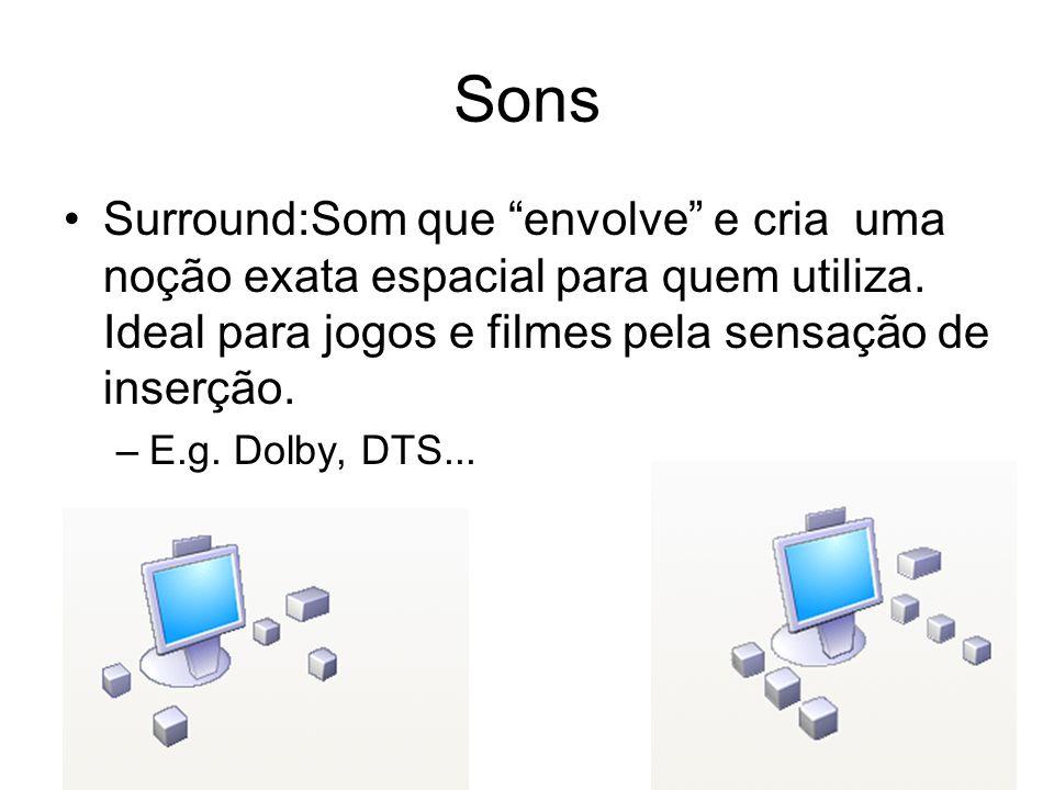 Sons Surround:Som que envolve e cria uma noção exata espacial para quem utiliza. Ideal para jogos e filmes pela sensação de inserção.
