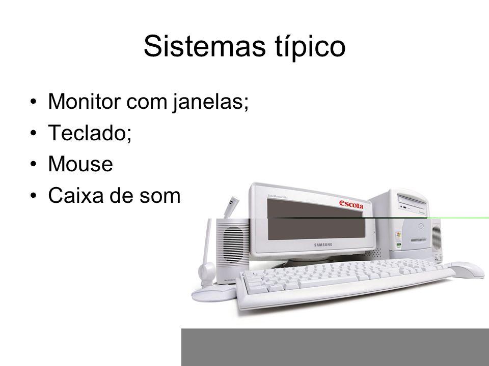 Sistemas típico Monitor com janelas; Teclado; Mouse Caixa de som