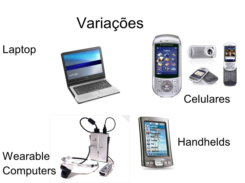 Variações Laptop Celulares Handhelds Wearable Computers