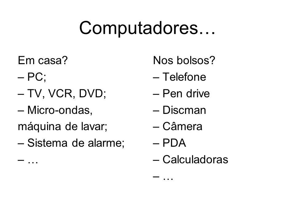 Computadores… Em casa – PC; – TV, VCR, DVD; – Micro-ondas,