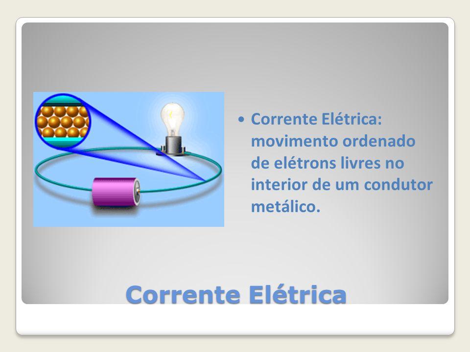 Corrente Elétrica: movimento ordenado de elétrons livres no interior de um condutor metálico.