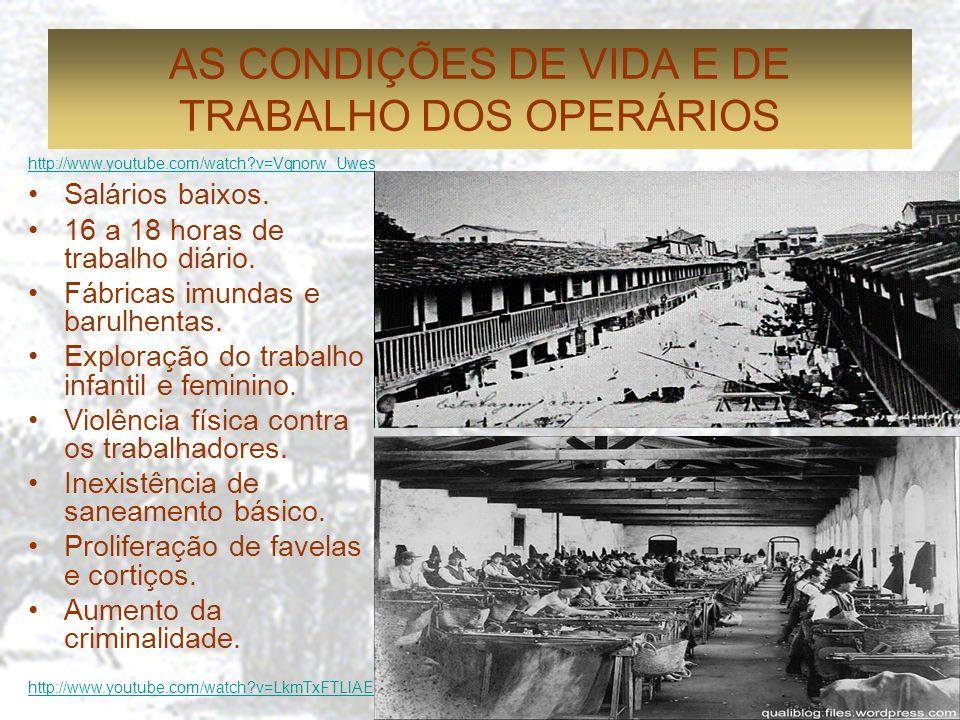 AS CONDIÇÕES DE VIDA E DE TRABALHO DOS OPERÁRIOS