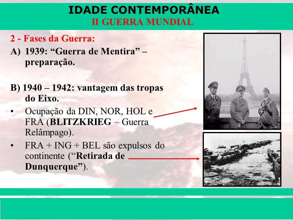 2 - Fases da Guerra:1939: Guerra de Mentira – preparação. B) 1940 – 1942: vantagem das tropas do Eixo.