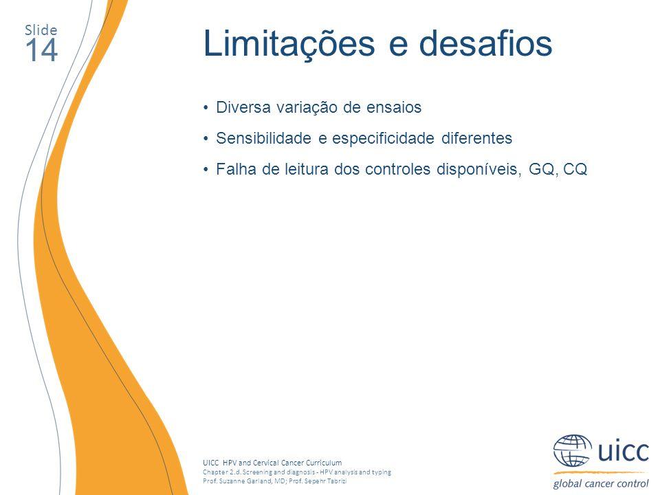 Limitações e desafios 14 Slide Diversa variação de ensaios
