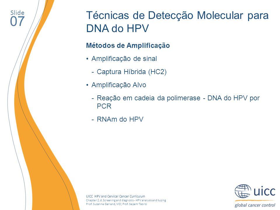 07 Técnicas de Detecção Molecular para DNA do HPV Slide