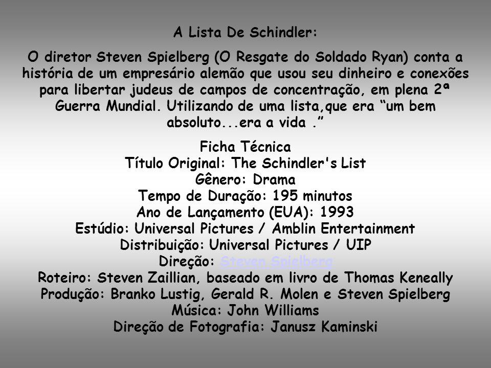 A Lista De Schindler:
