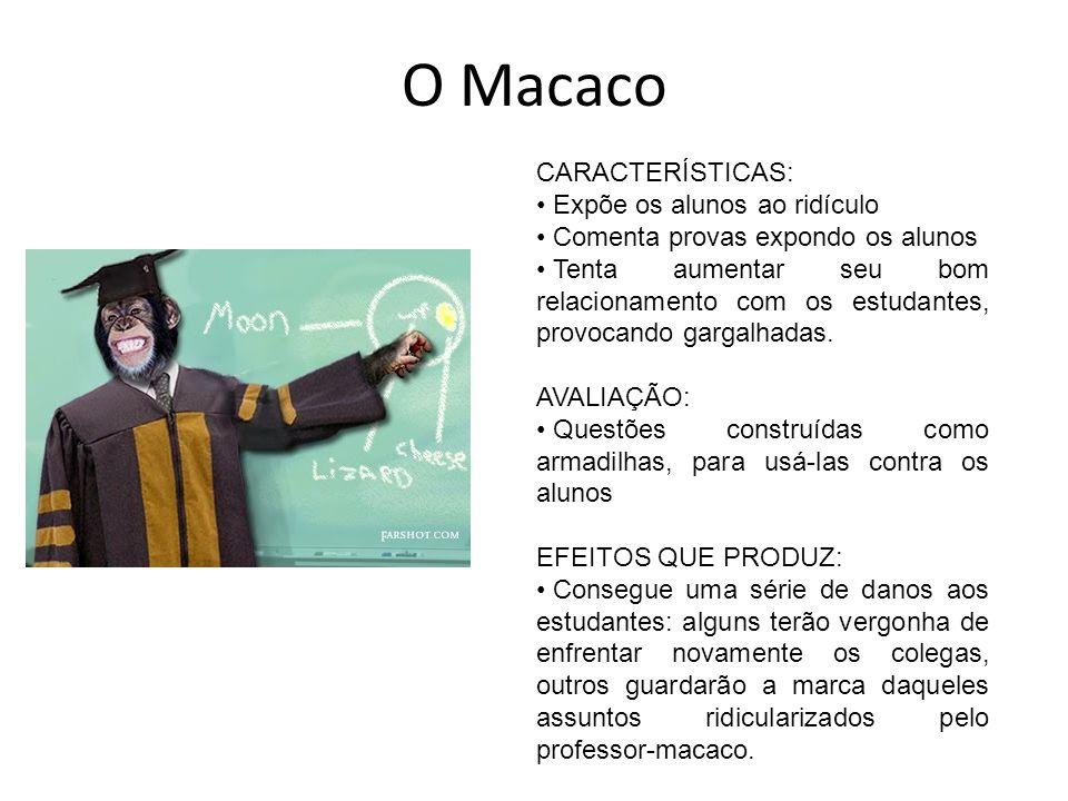 O Macaco CARACTERÍSTICAS: Expõe os alunos ao ridículo