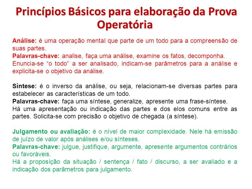 Princípios Básicos para elaboração da Prova Operatória