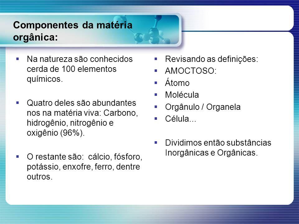 Componentes da matéria orgânica: