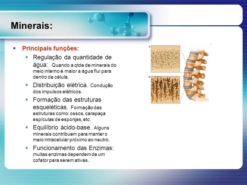 Minerais: Principais funções:
