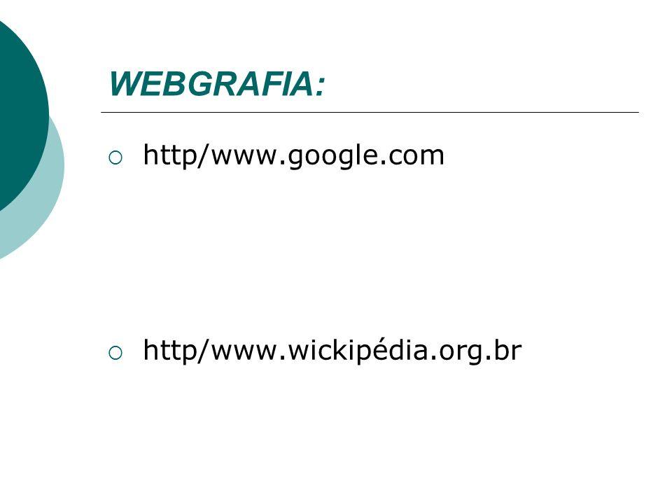 WEBGRAFIA: http/www.google.com http/www.wickipédia.org.br