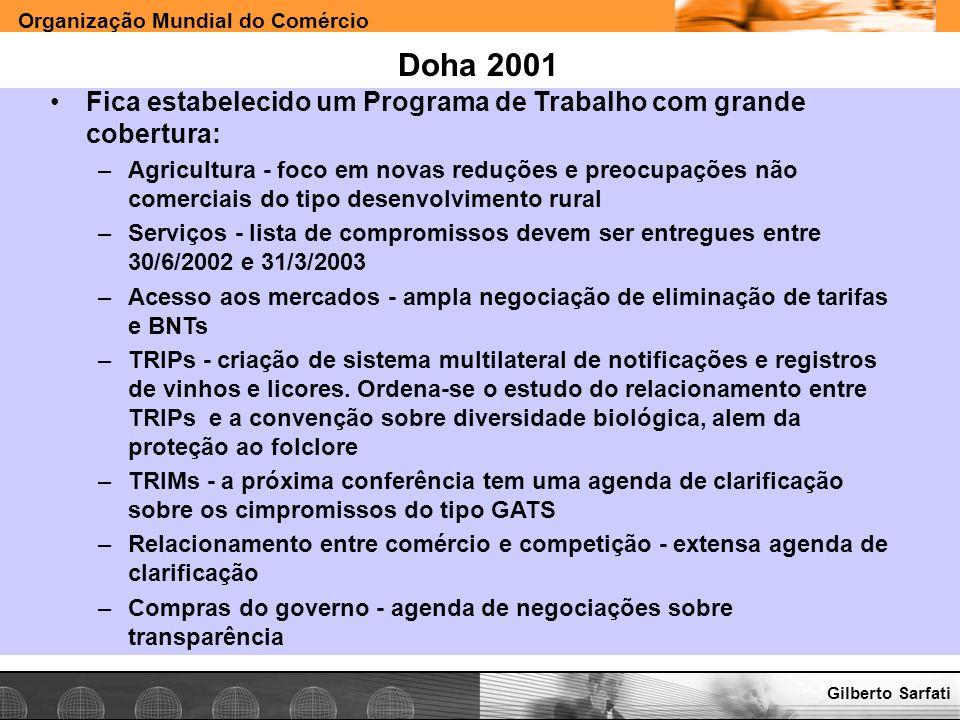 Doha 2001Fica estabelecido um Programa de Trabalho com grande cobertura: