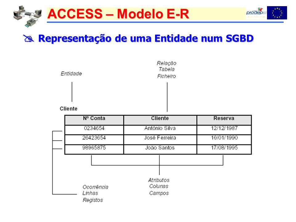  Representação de uma Entidade num SGBD