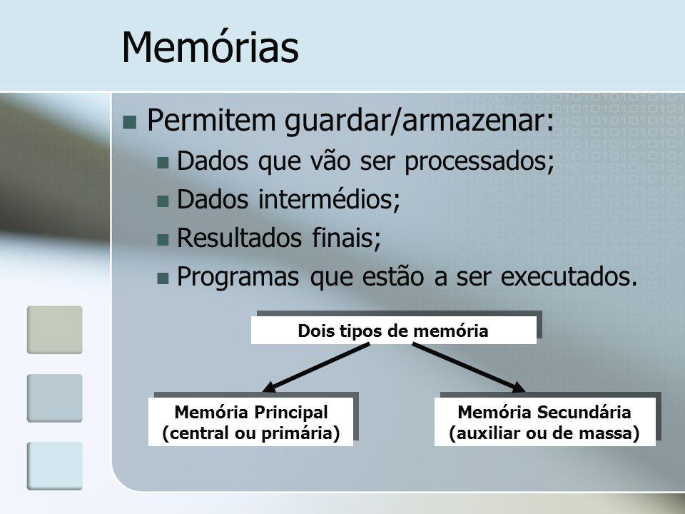 Memórias Permitem guardar/armazenar: Dados que vão ser processados;
