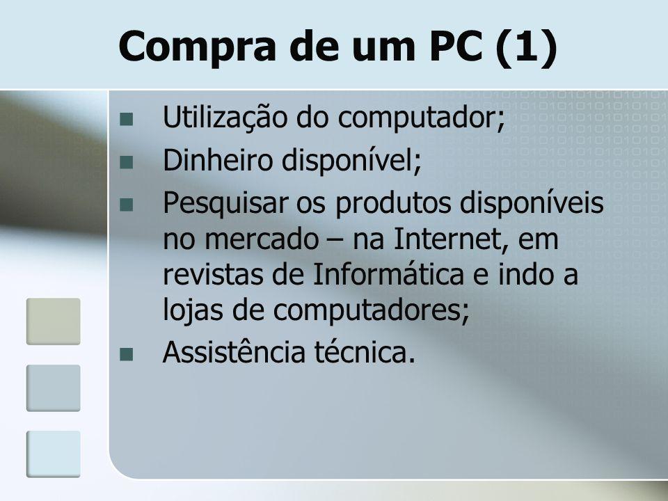 Compra de um PC (1) Utilização do computador; Dinheiro disponível;