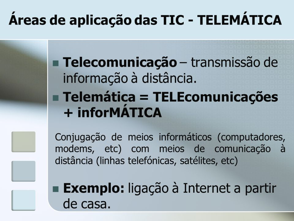 Áreas de aplicação das TIC - TELEMÁTICA