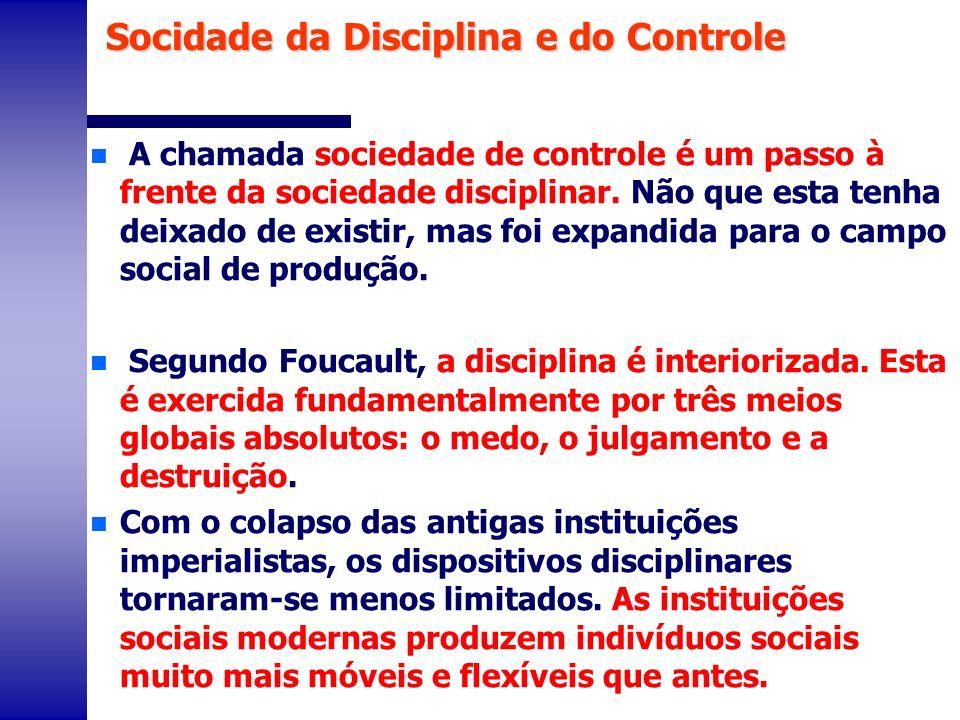 Socidade da Disciplina e do Controle