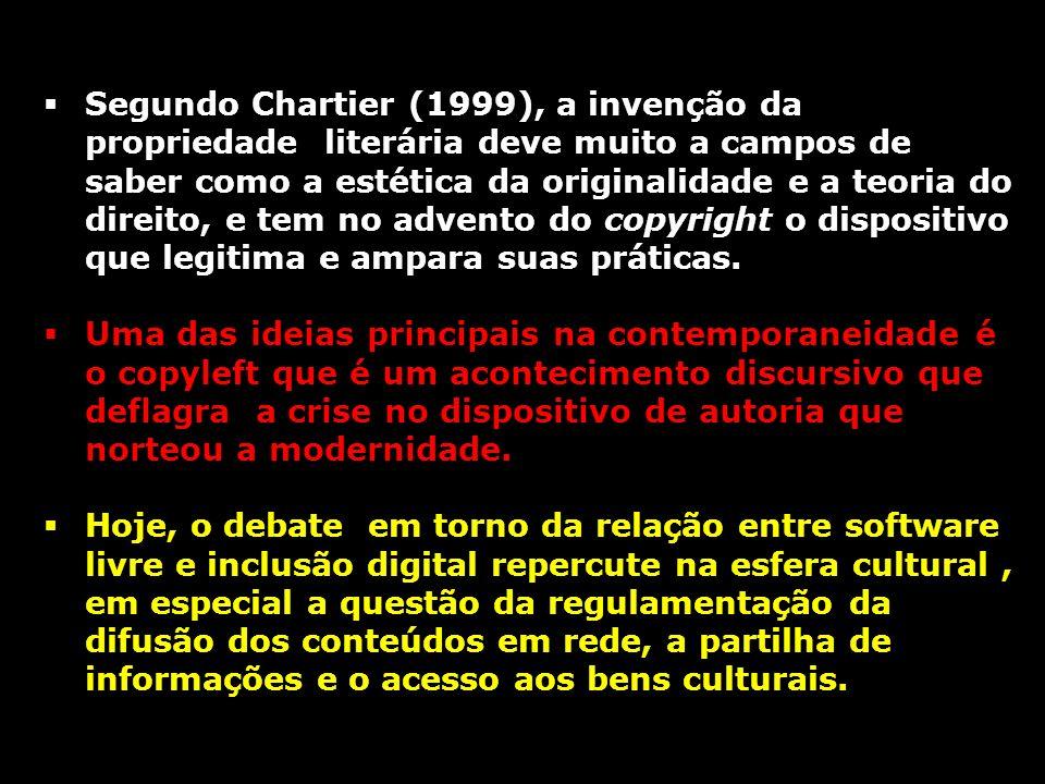 Segundo Chartier (1999), a invenção da propriedade literária deve muito a campos de saber como a estética da originalidade e a teoria do direito, e tem no advento do copyright o dispositivo que legitima e ampara suas práticas.