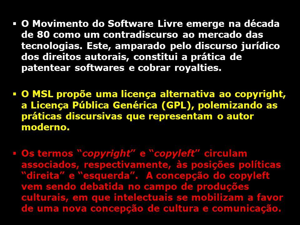 O Movimento do Software Livre emerge na década de 80 como um contradiscurso ao mercado das tecnologias. Este, amparado pelo discurso jurídico dos direitos autorais, constitui a prática de patentear softwares e cobrar royalties.