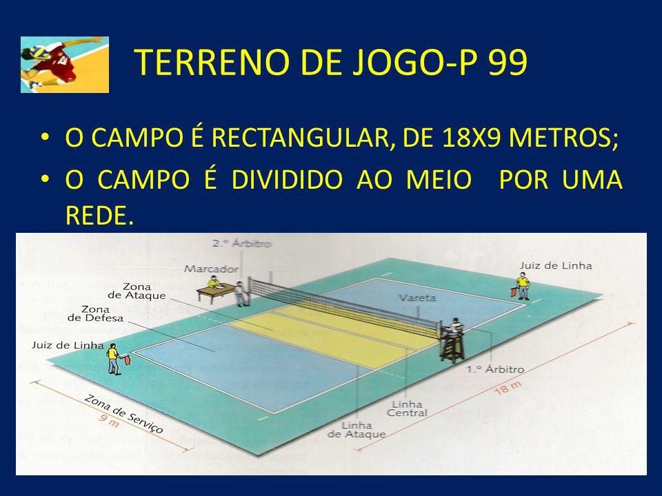 TERRENO DE JOGO-P 99 O CAMPO É RECTANGULAR, DE 18X9 METROS;