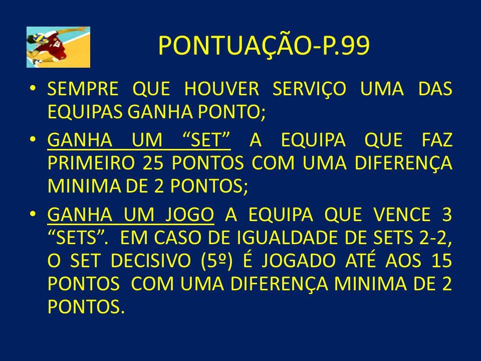PONTUAÇÃO-P.99 SEMPRE QUE HOUVER SERVIÇO UMA DAS EQUIPAS GANHA PONTO;