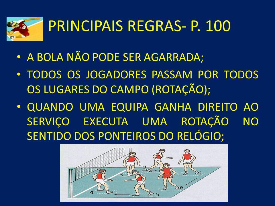 PRINCIPAIS REGRAS- P. 100 A BOLA NÃO PODE SER AGARRADA;